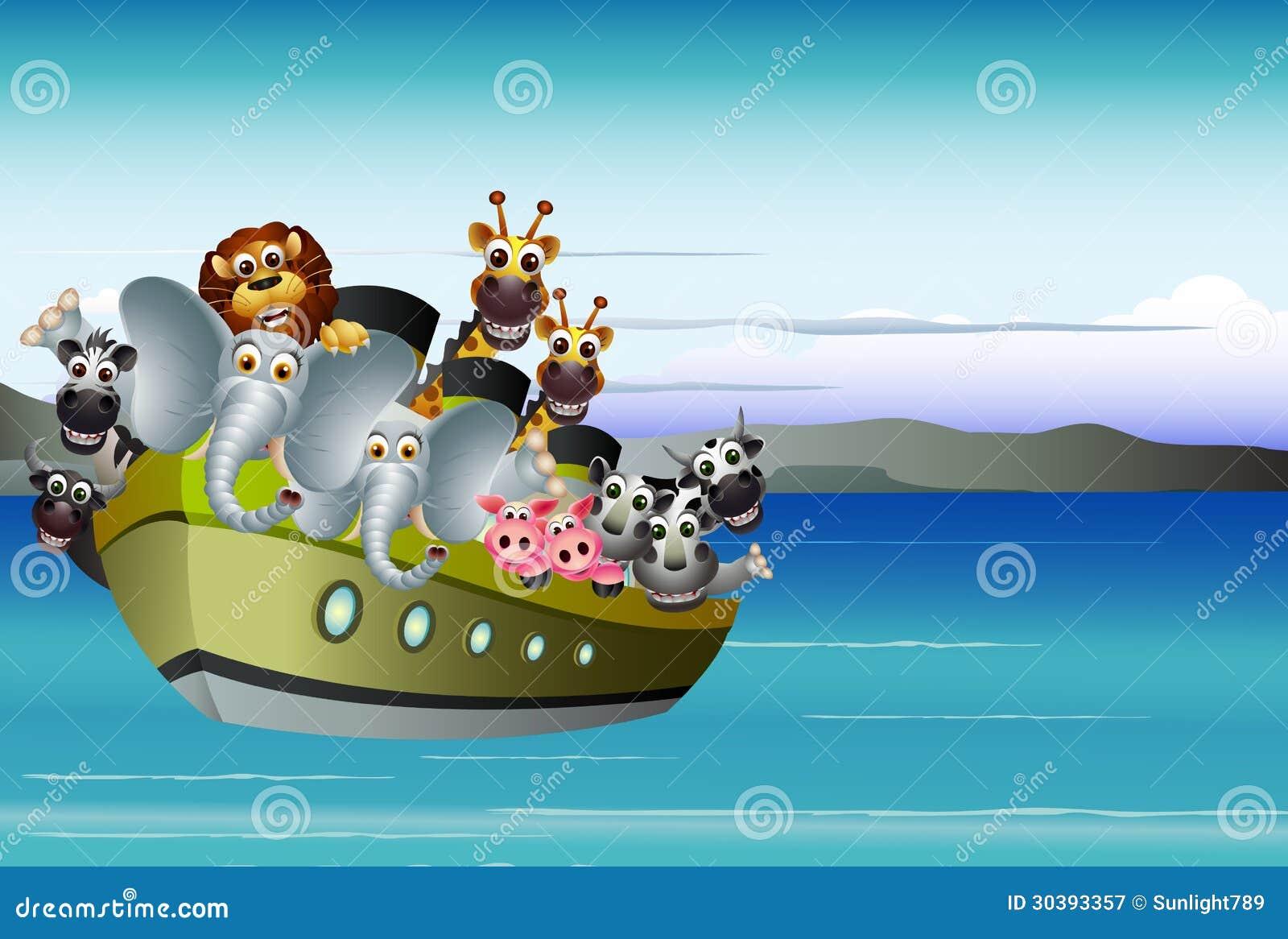 funny animal cartoon on big steamship royalty free stock