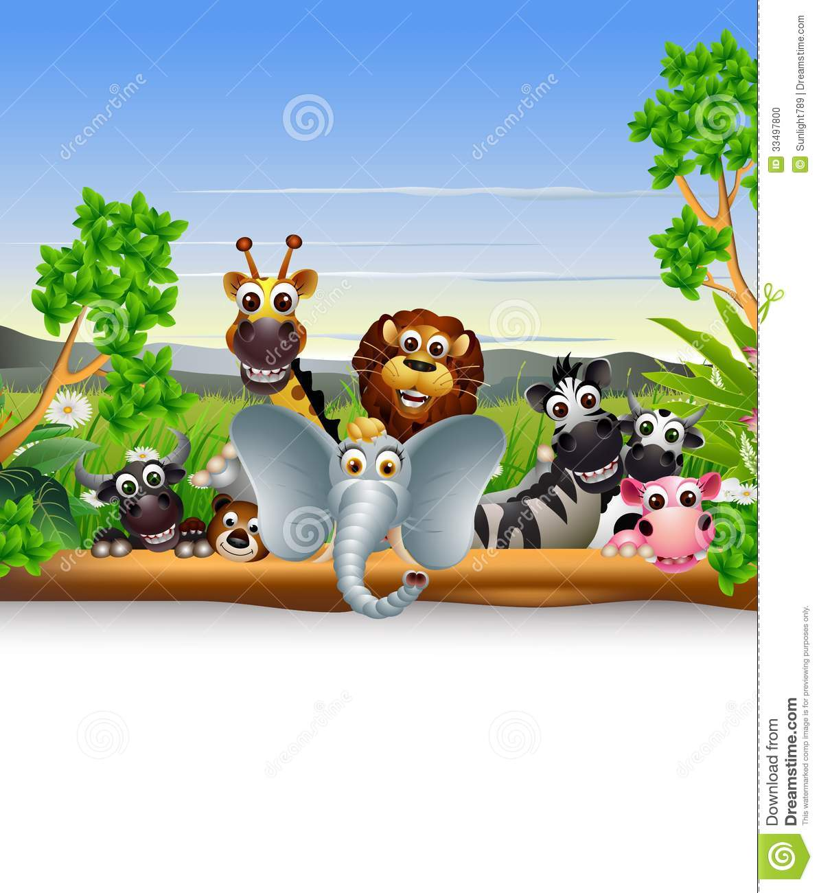 Funny animal cartoon with blank sign cartoon vector for Babyzimmer set junge