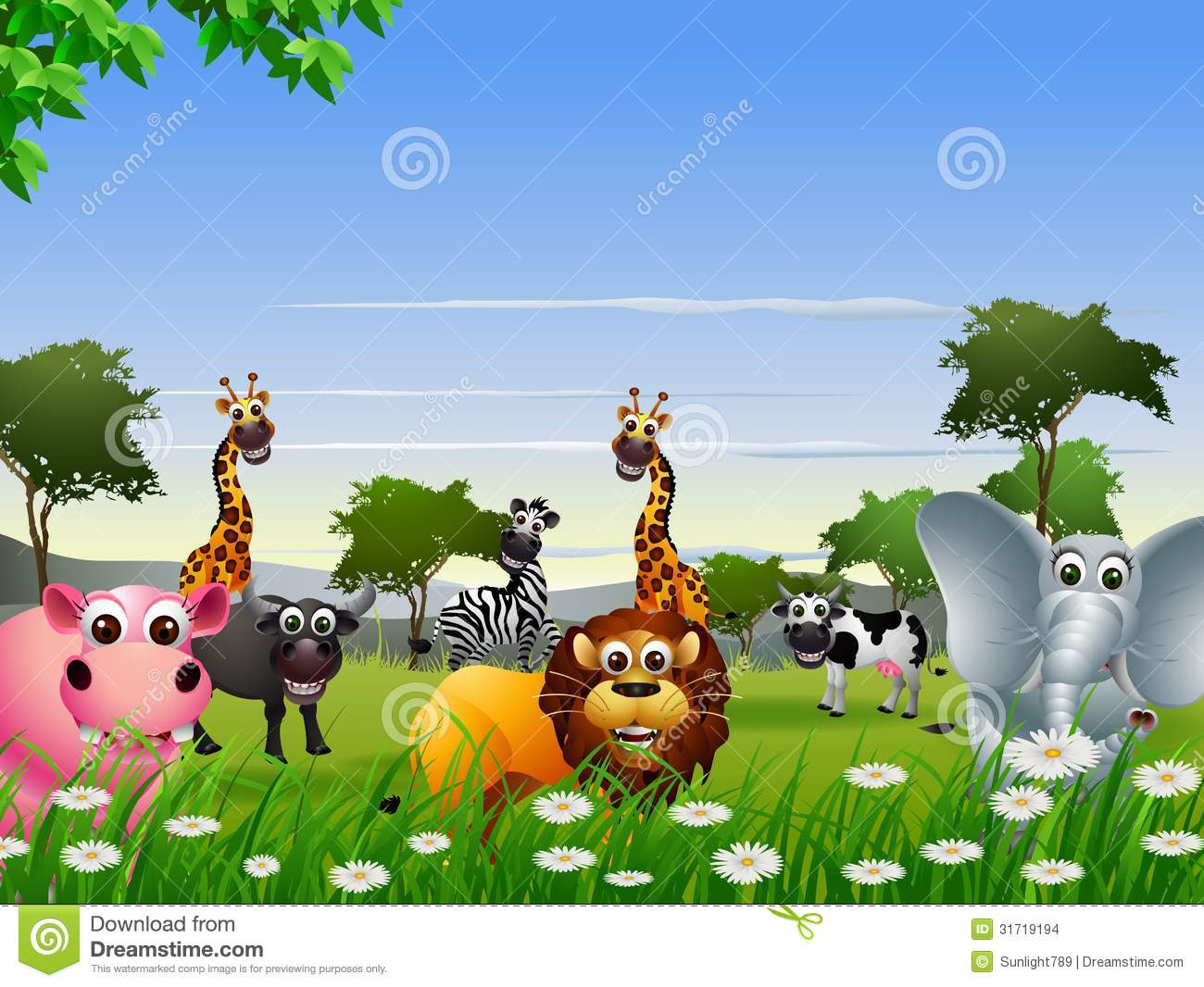funny animal cartoon with nature background stock images   image
