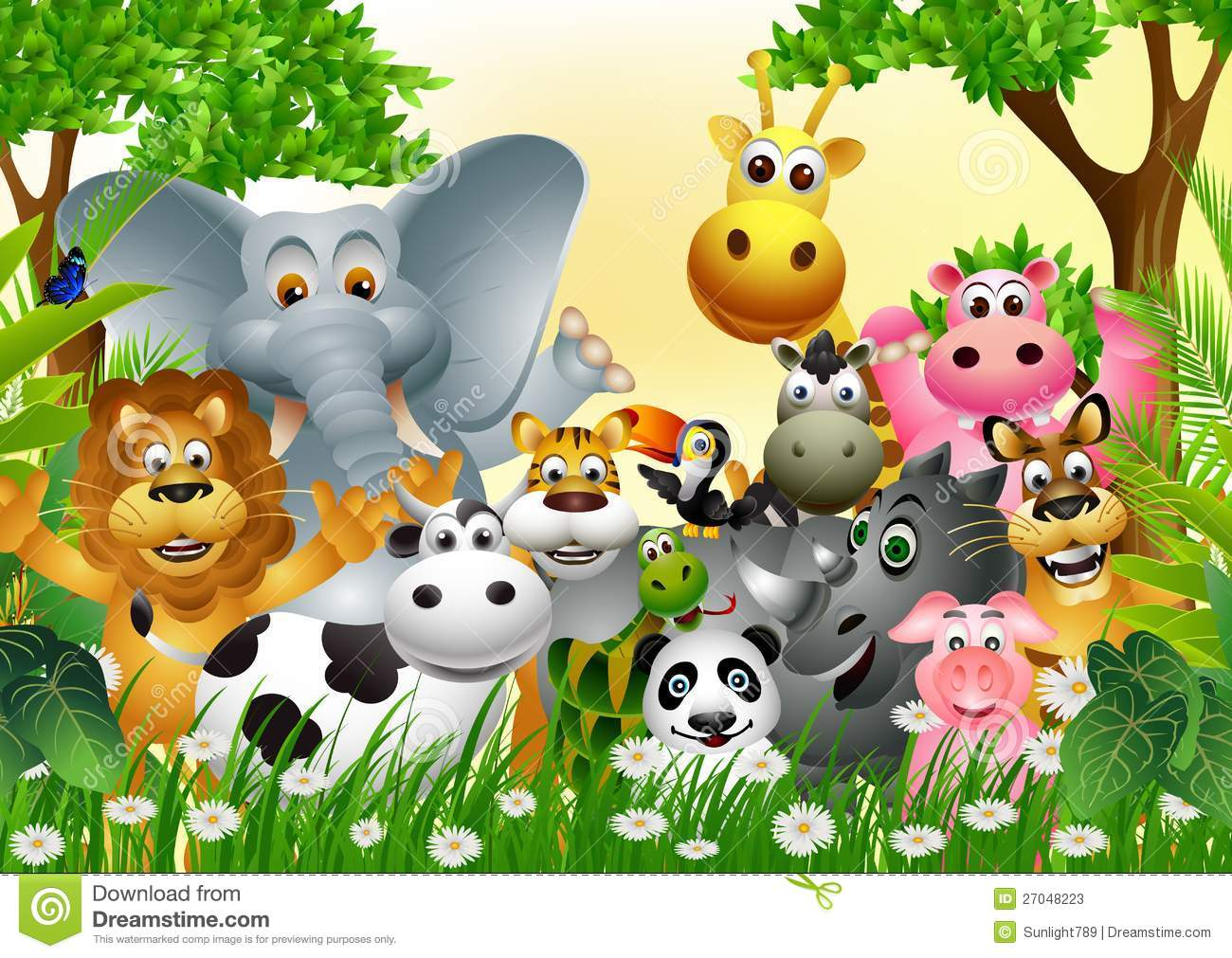 ... of funny animal wildlife cartoon collection with forest background
