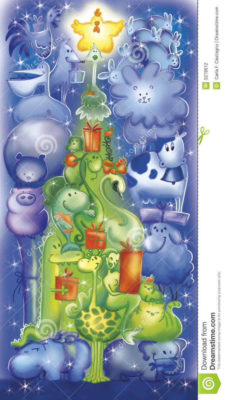 Funny Animals Christmas Tree Stock Illustration Illustration Of