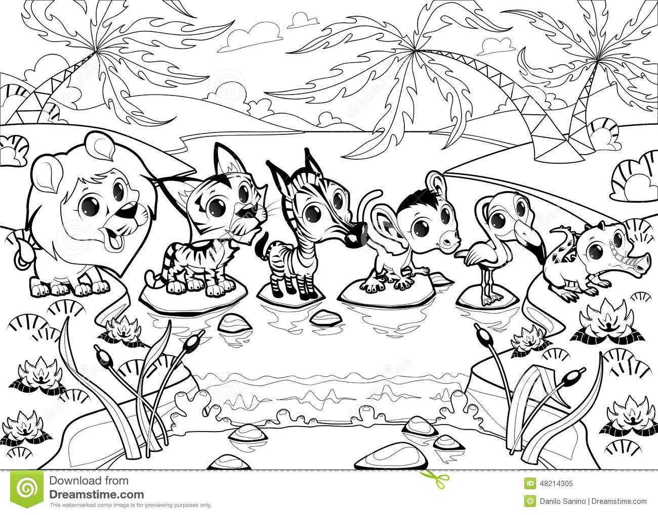 Funny Animals In The Jungle Stock Vector Image 48214305
