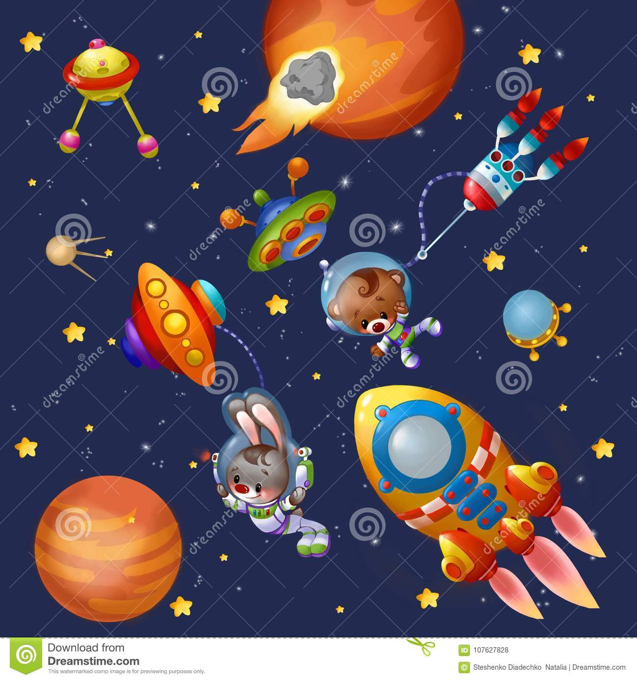 Funny Animals Planets And Spaceshipsin Space Stock Illustration