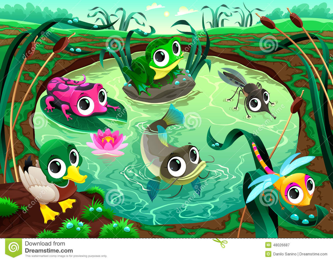 Funny Animals In The Pond Stock Vector Image 48026687