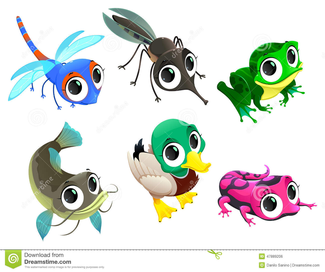 Funny Animals Of Pond Stock Vector - Image: 47889206