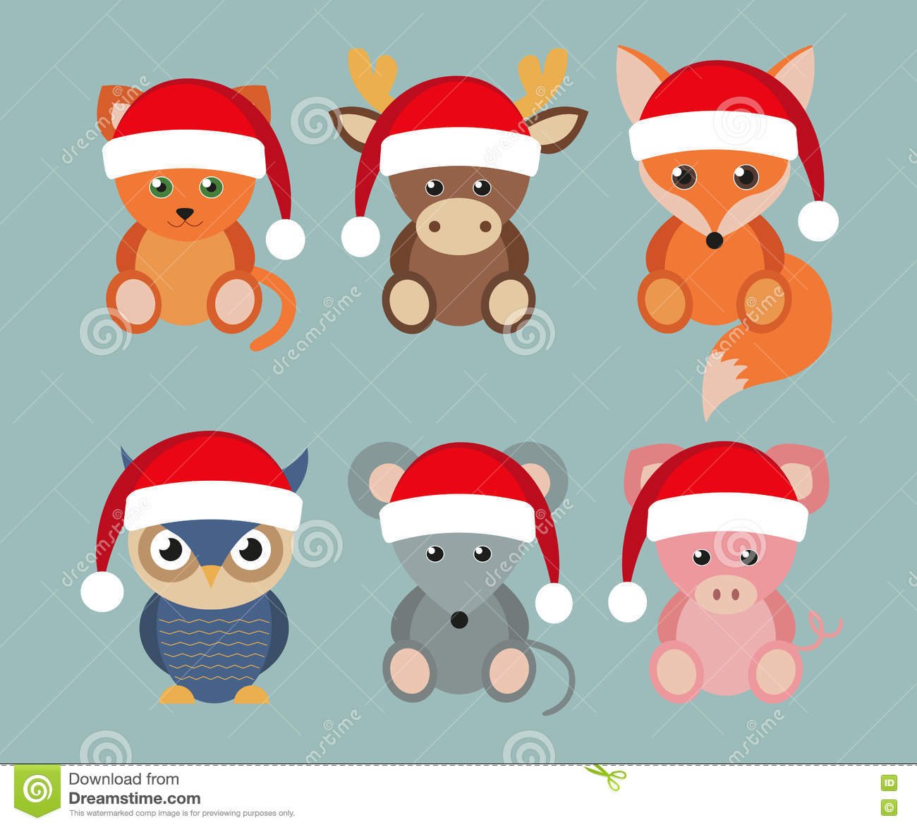 Fox with a hat new year or christmas animal isolated on white - Animals Cartoon Christmas Flat Funny New Santa Set Style Year