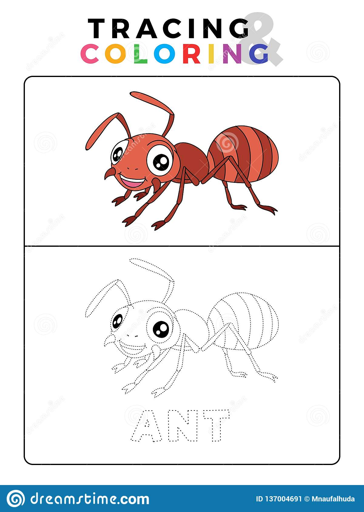 Funny Ant Insect Animal Tracing And Coloring Book With Example ...