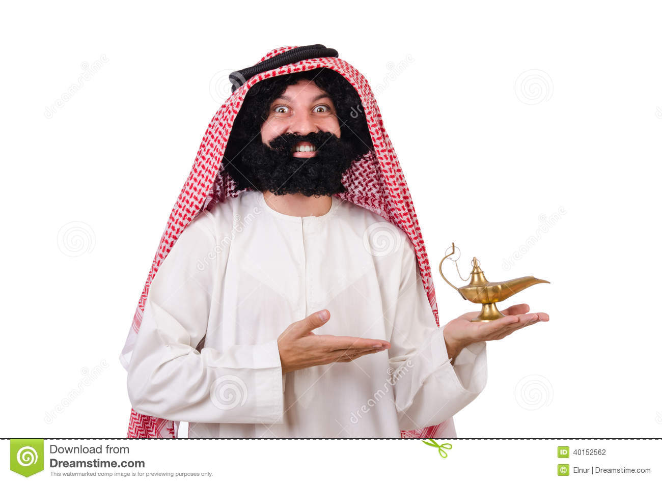Funny Arab Man With Lamp Stock Photo - Image: 40152562