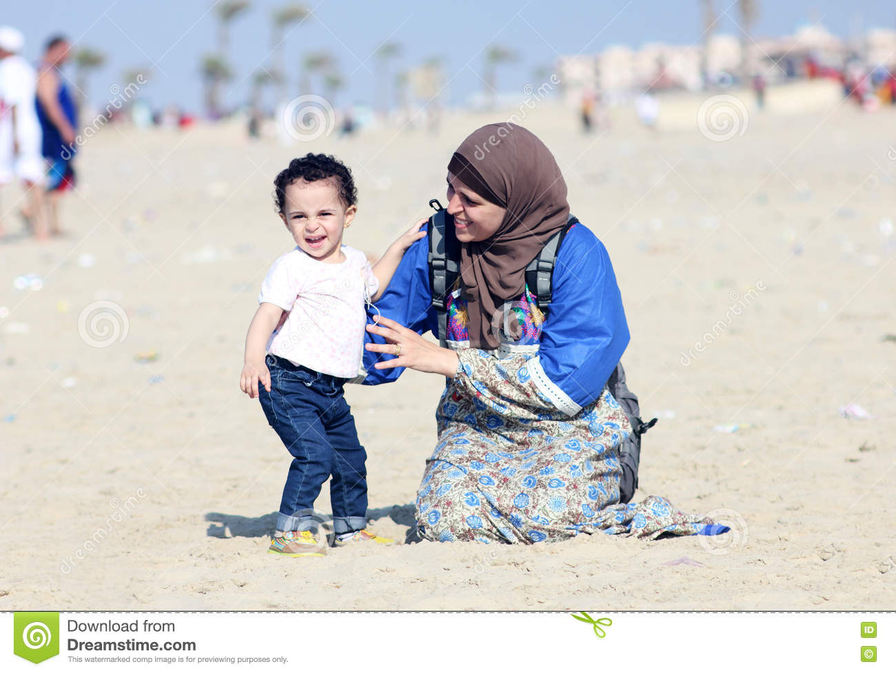 Funny Arab Muslim Egyptian Baby Girl With Her Mother Stock Photo Image Of Arabic Happy 75742204