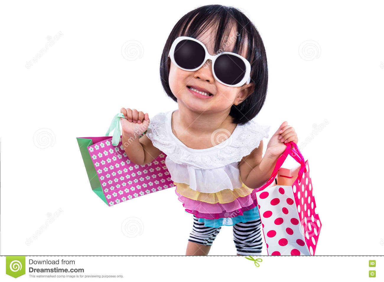 Funny Asian Chinese Little Girl Holding Shopping Bags Stock