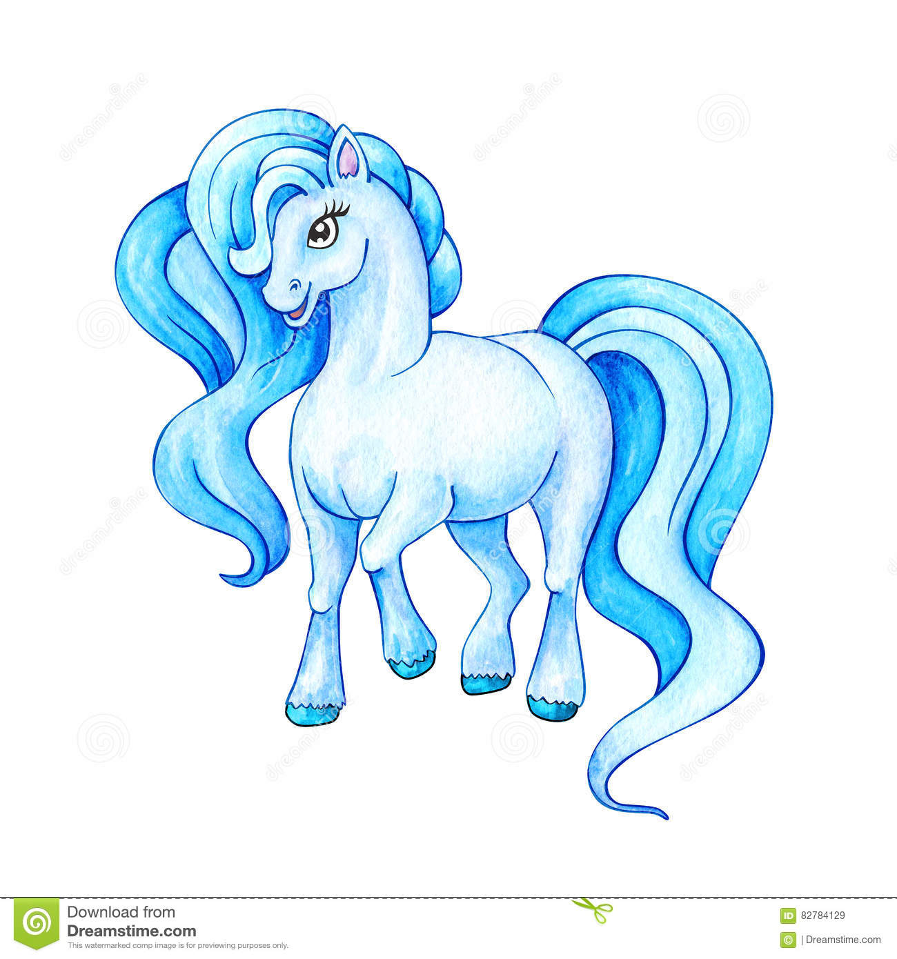 Funny Azure Pony Little Horse Watercolor Illustration Stock Illustration Illustration Of Tale Watercolor 82784129