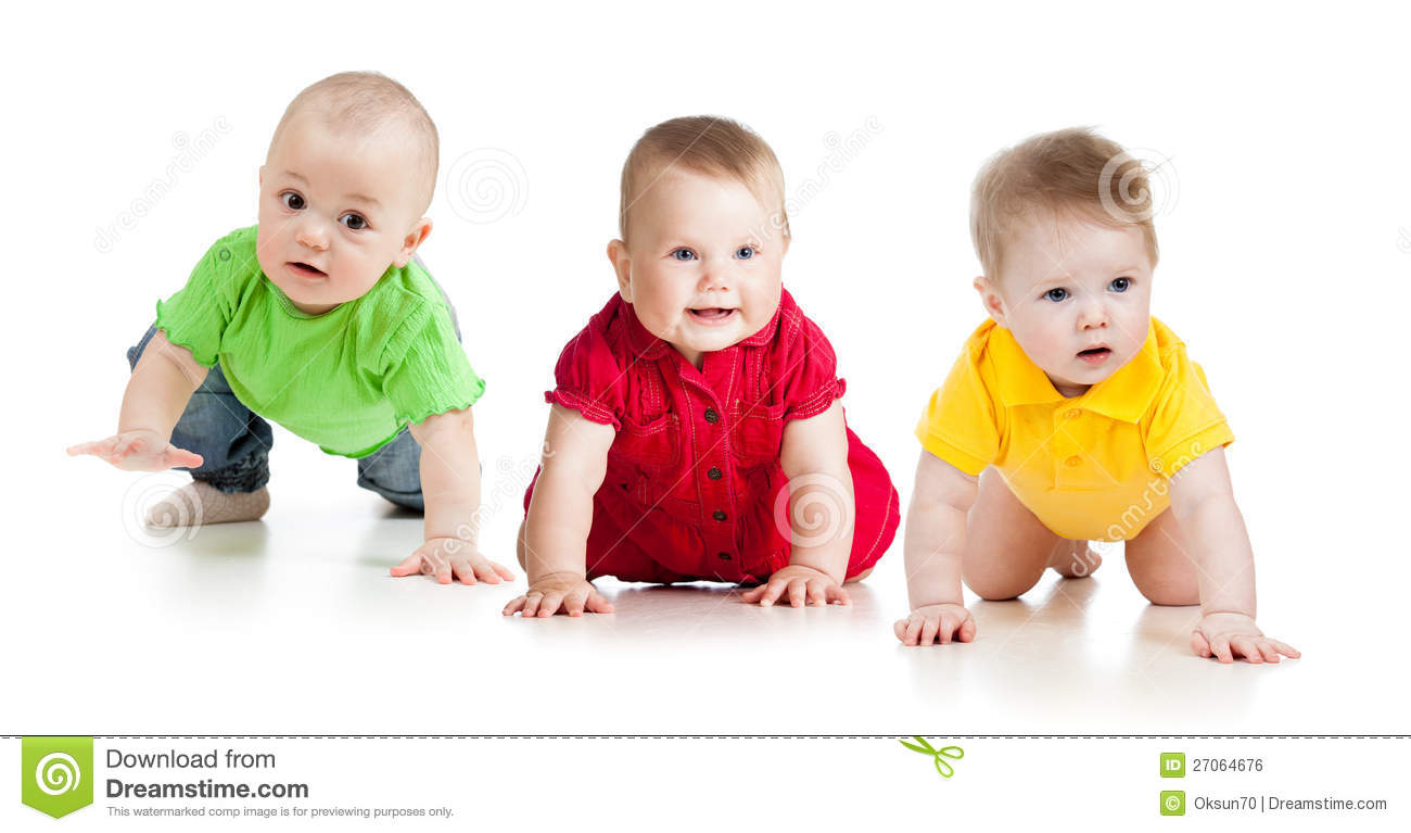 Funny Babies Or Toddlers Go Down On All Fours Stock Photo ...