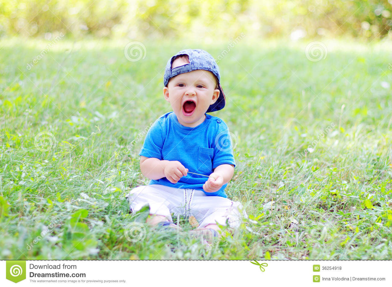 Funny baby boy is glad for summer stock photo image of grass baby download comp voltagebd Image collections