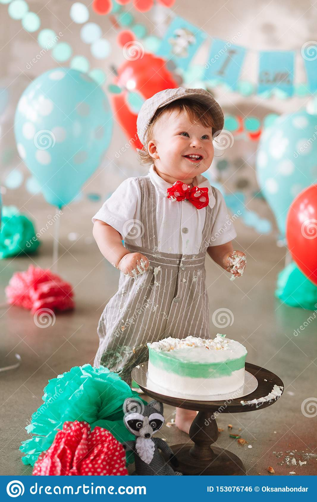 Terrific Funny Baby Boy Laughing In His First Birthday Cake Smash Messy Personalised Birthday Cards Petedlily Jamesorg