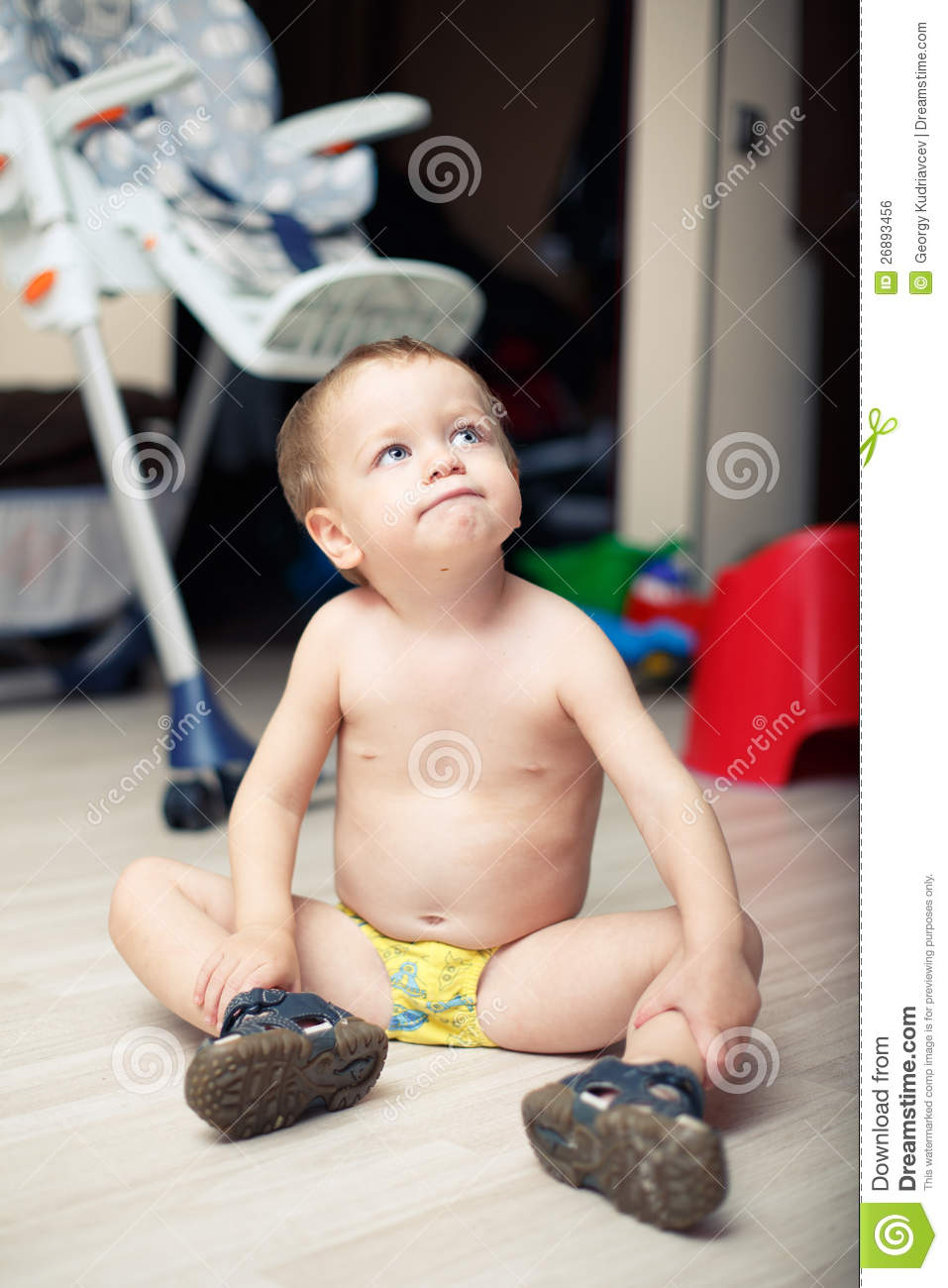 Funny Baby Boy Sitting Naked On The Floor Stock Photo -1069