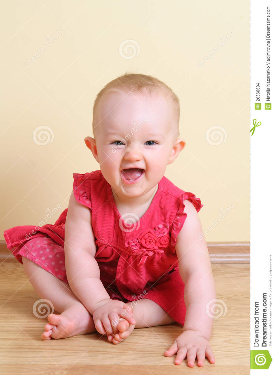 Funny baby girl (7 month) stock photo. Image of smiling ...