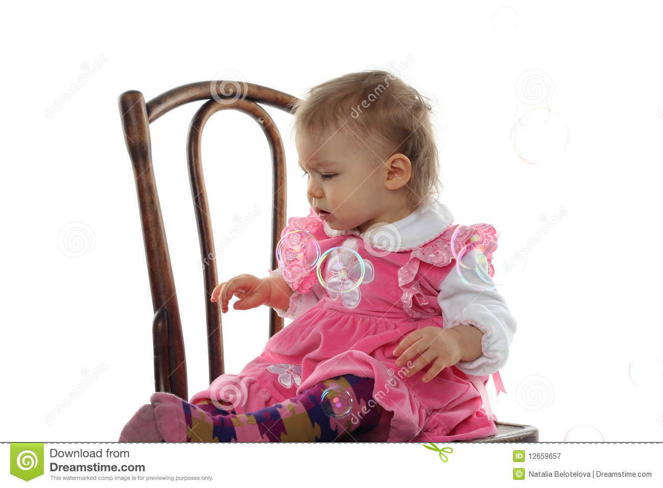 Funny Baby Girl In Pink Dress Royalty Free Stock ... - photo#29
