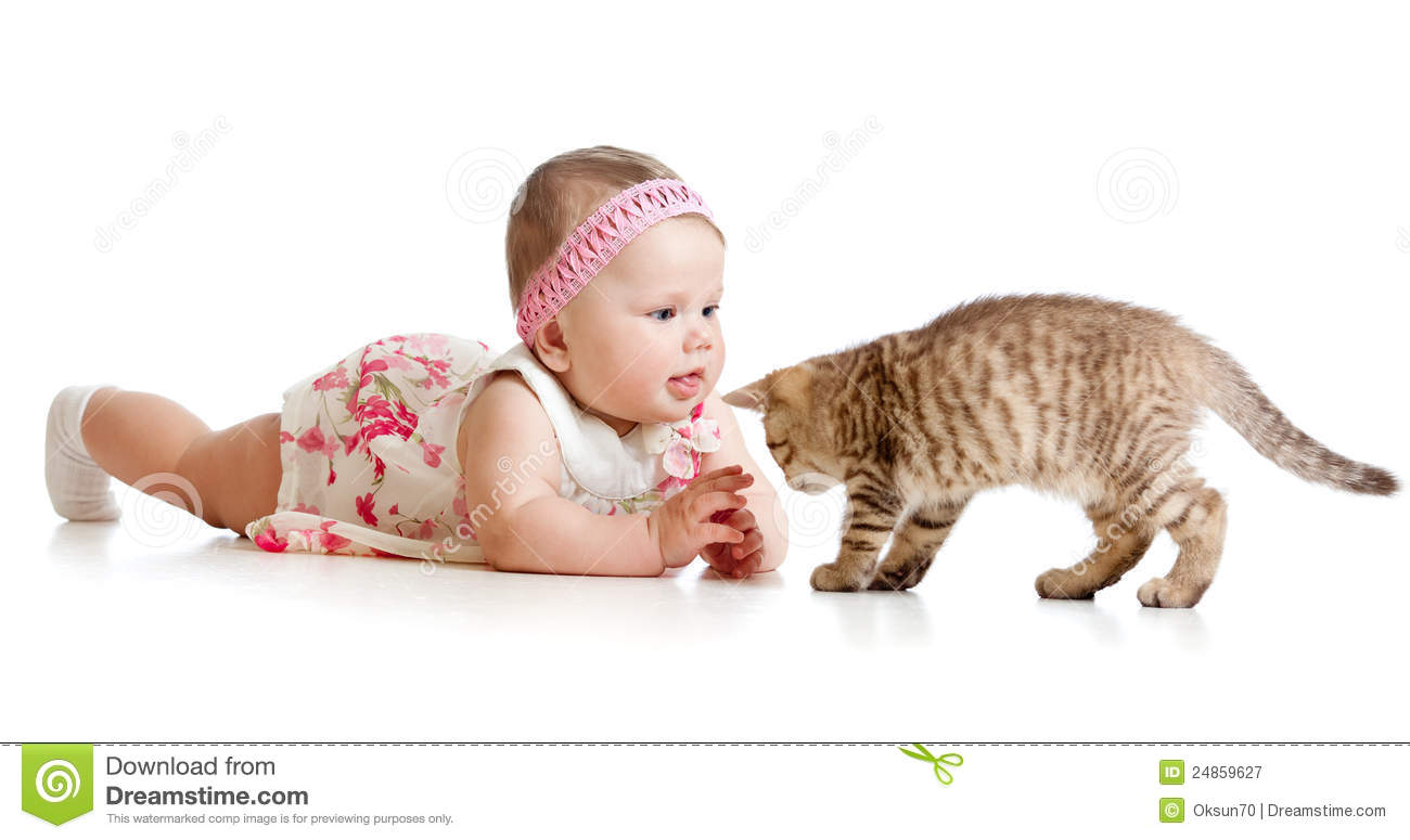 Funny Baby Girl Playing With Cat Kitten