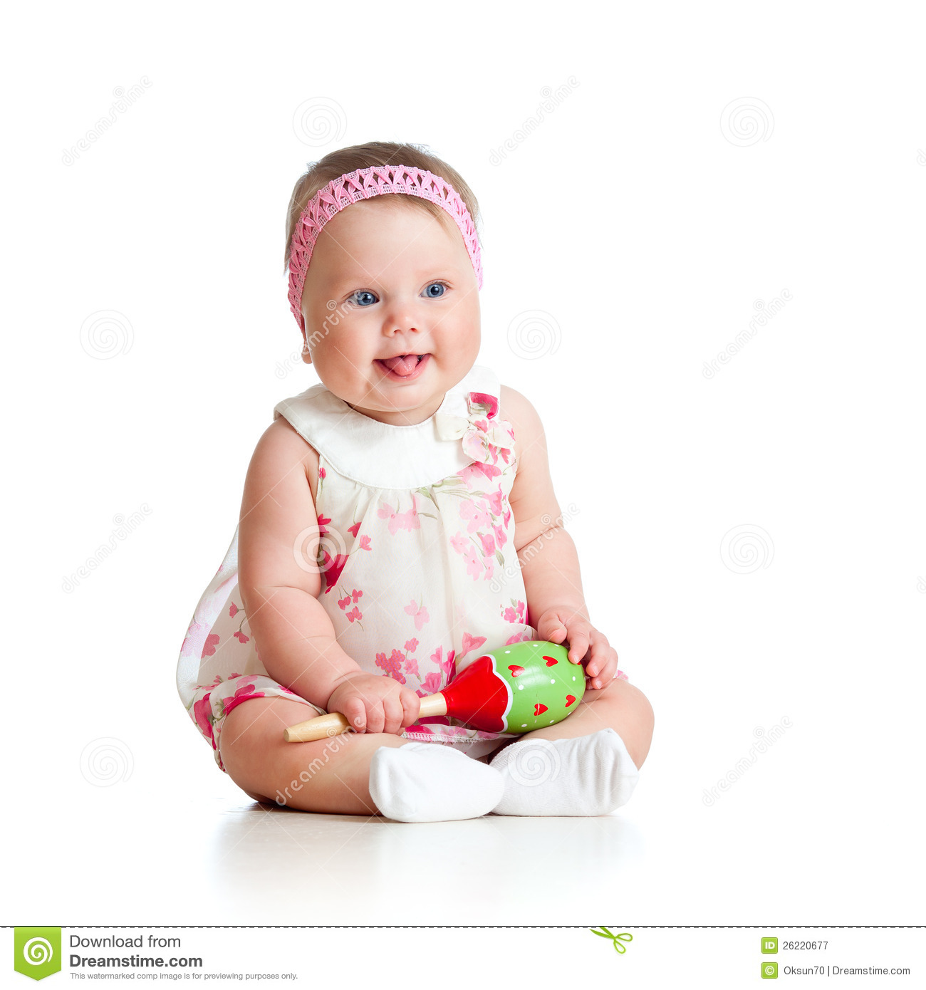 Funny Baby Girl Playing With Musical Toy Stock Image ...