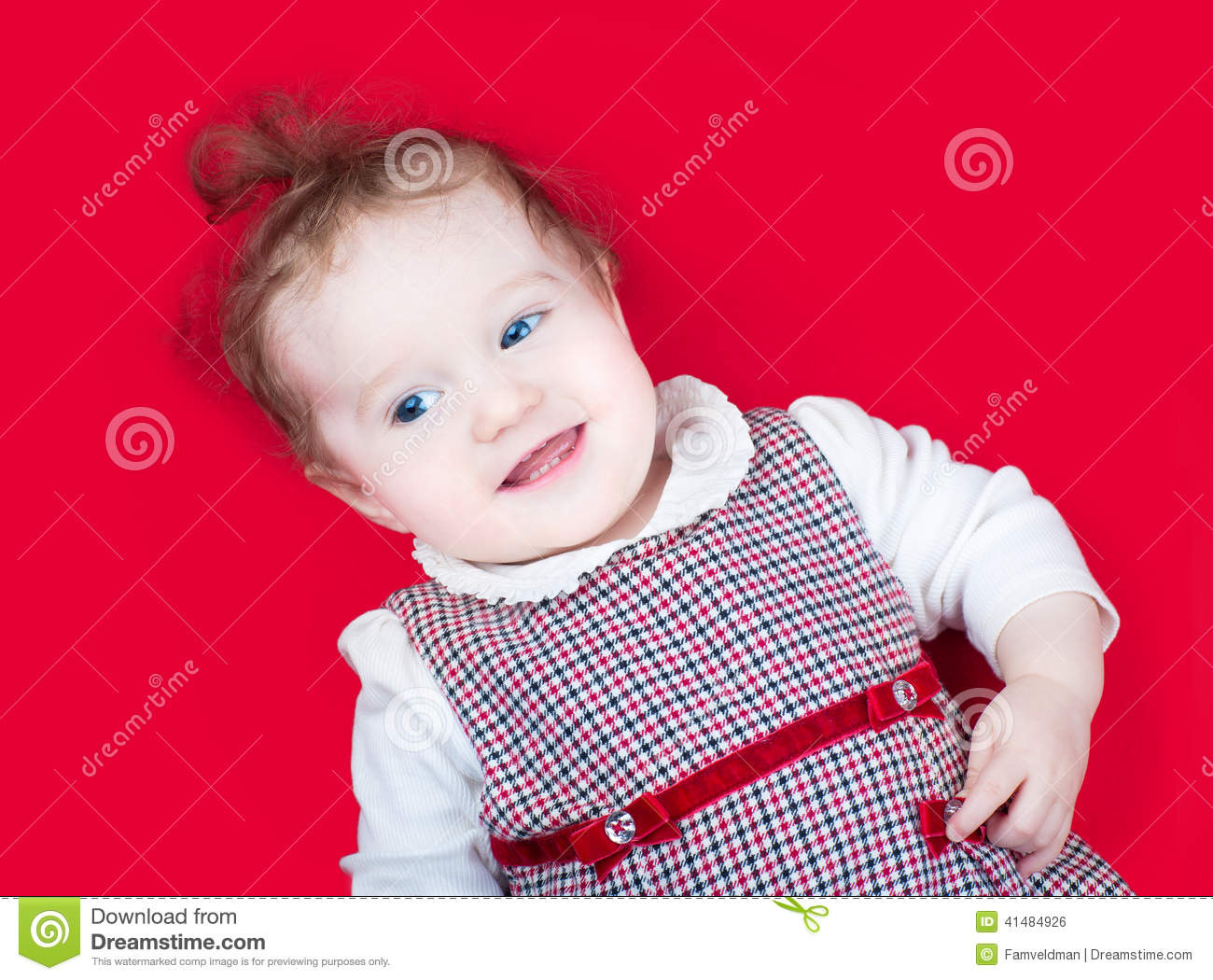 187d39f24 Funny Baby Girl In Red Christmas Dress Stock Photo - Image of ...