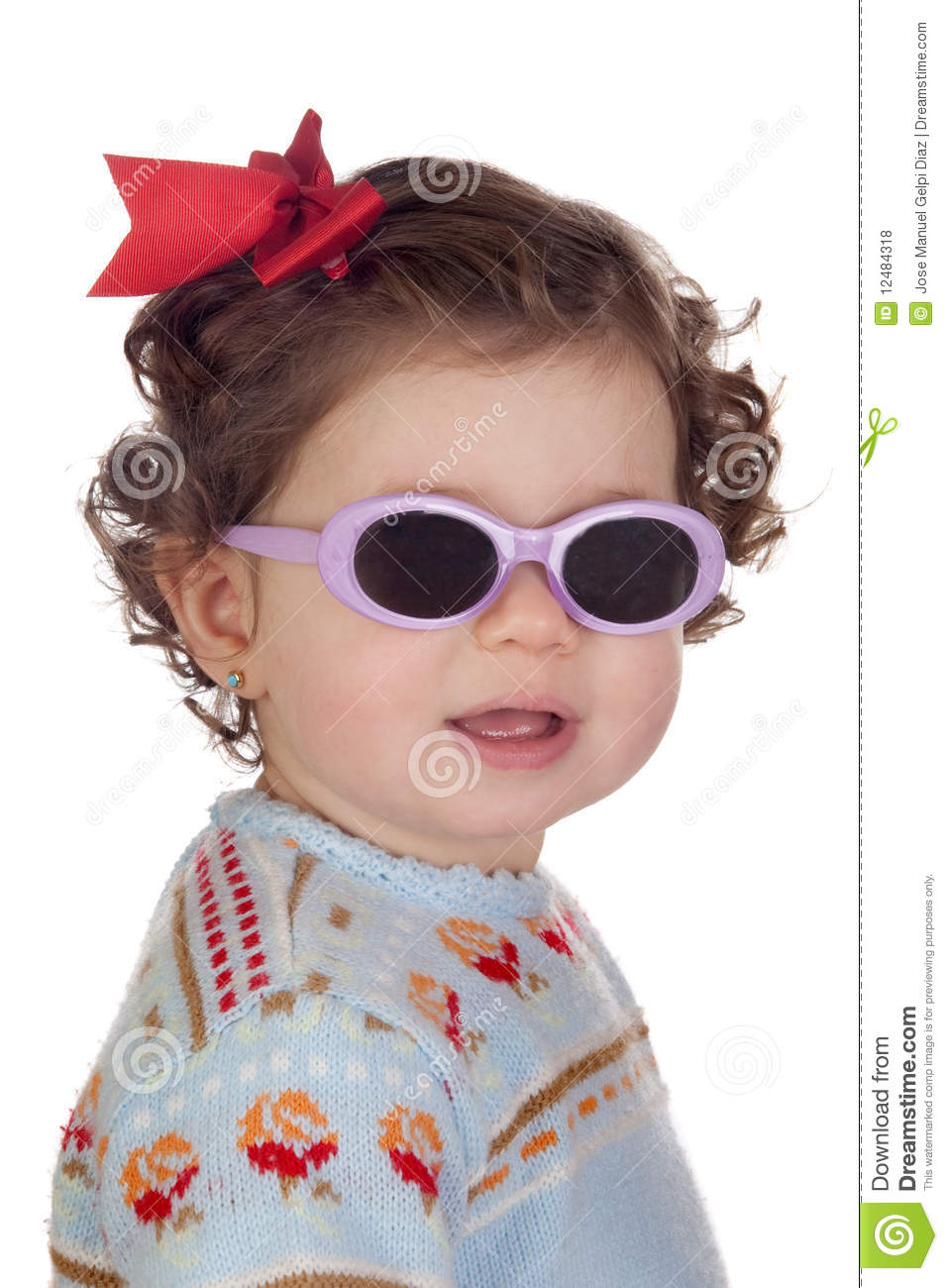 funny baby girl with sunglasses royalty free stock photos