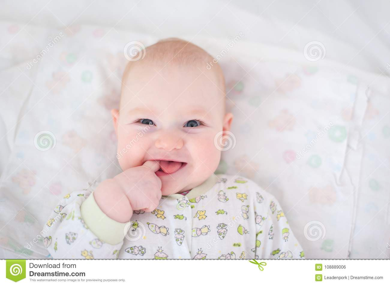 Funny Baby Holds A Finger Stock Photo Image Of Newborn 108889006