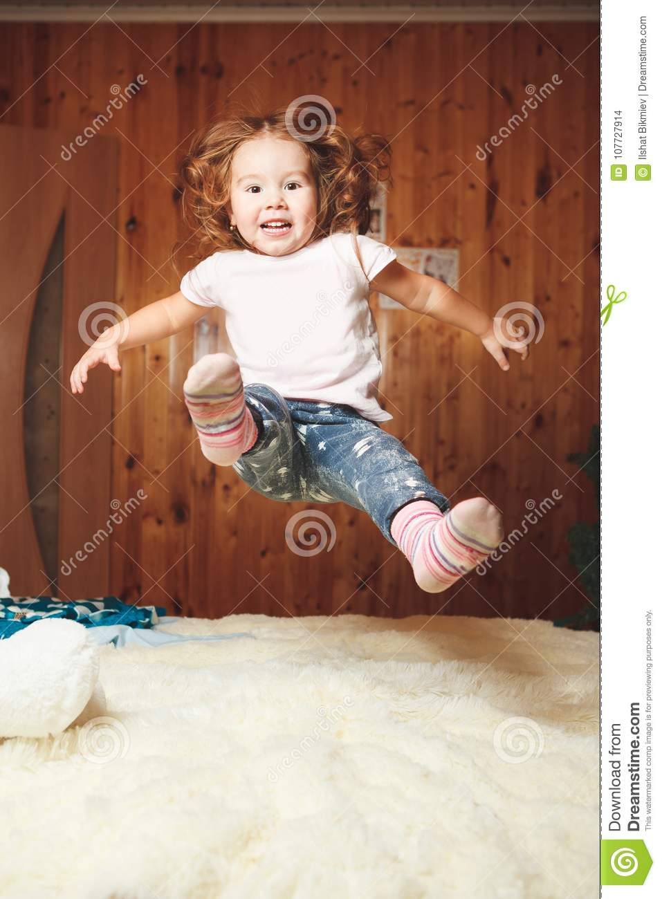 Download Funny Baby Jumping On The Bed Stock Photo Image Of Jumps Home