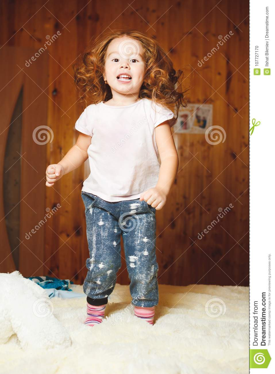 Download Funny Baby Jumping On The Bed Stock Photo Image Of Smile Delight
