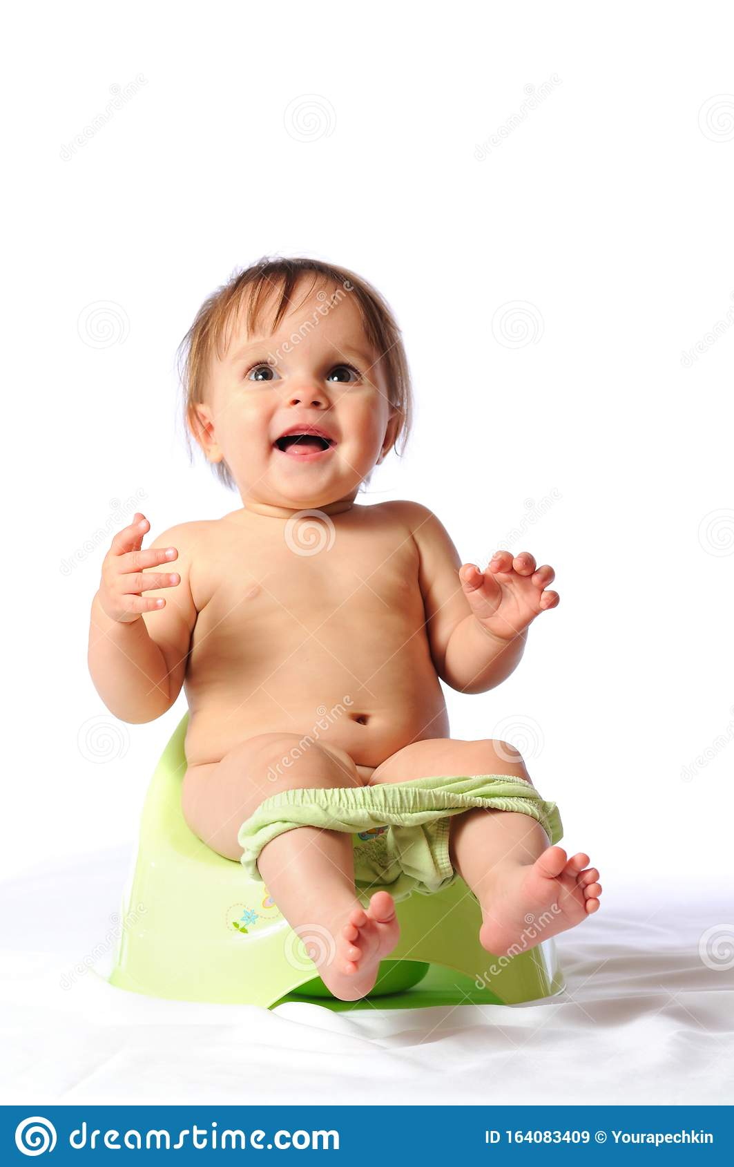 Funny Baby Sitting On Green Potty Stock Image Image Of Baby Cute 164083409
