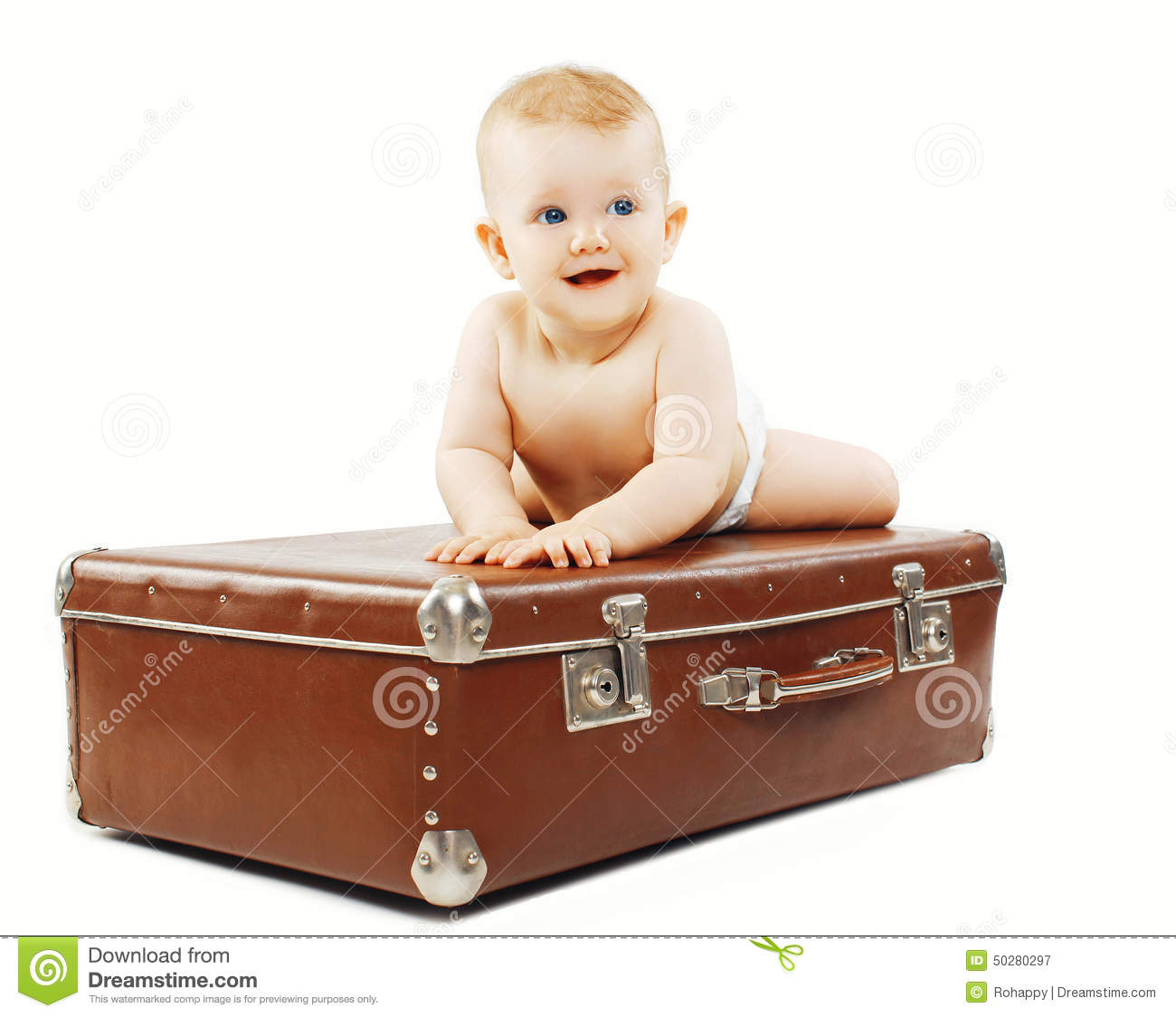 Funny Baby On The Suitcase Stock Photo Image 50280297