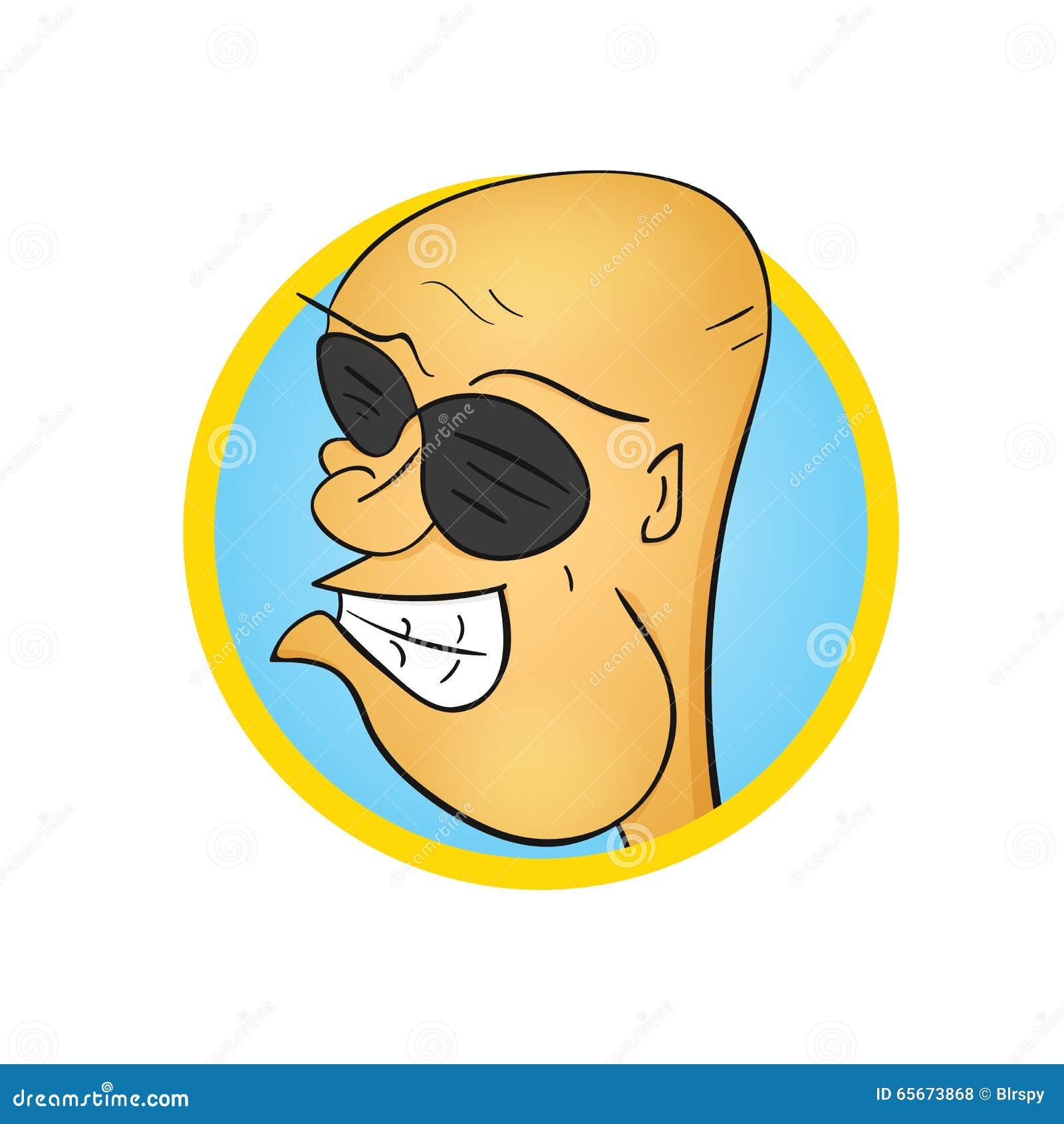 Funny Bald Cartoon Character In Sunglasses Illustration 65673868 Megapixl