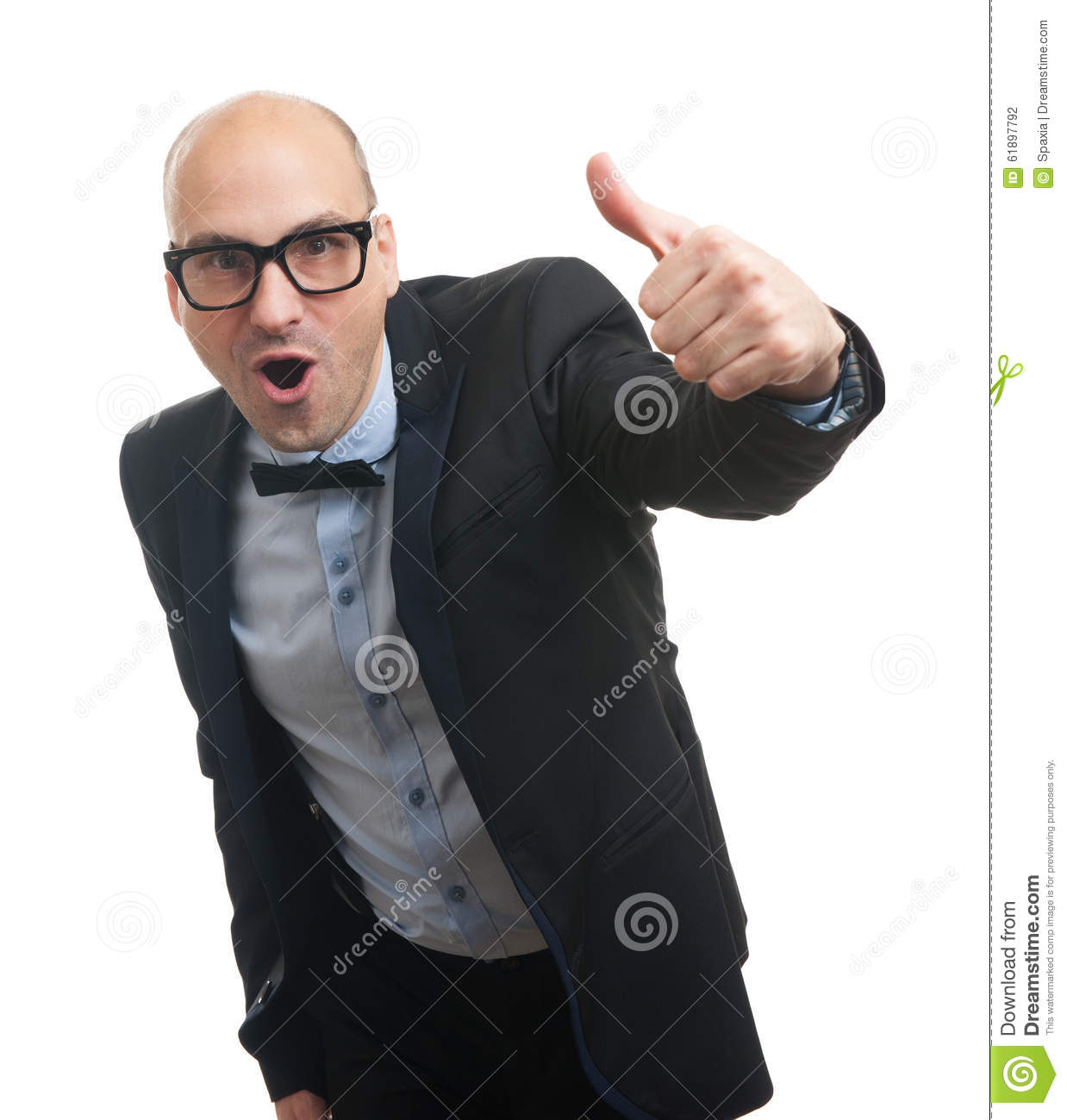 Funny Bald Man Showing His Thumb Up Stock Photo