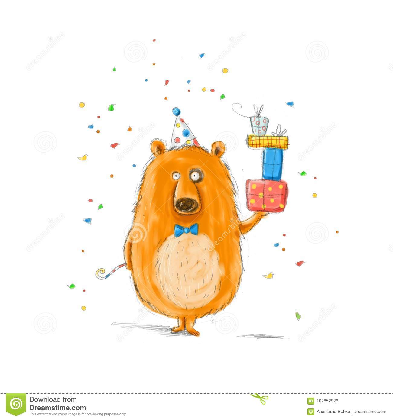 Funny Bear With The Gifts.Childish Illustration. Hand Drawn Bear ...