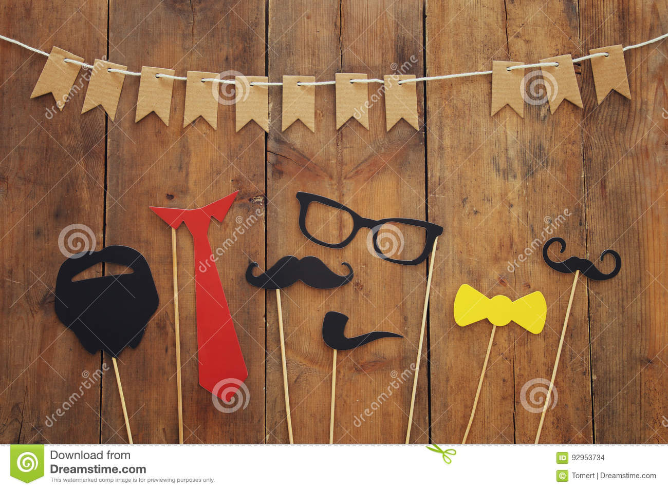 funny beard, glasses, mustache, tie and bow. Father& x27;s day concept