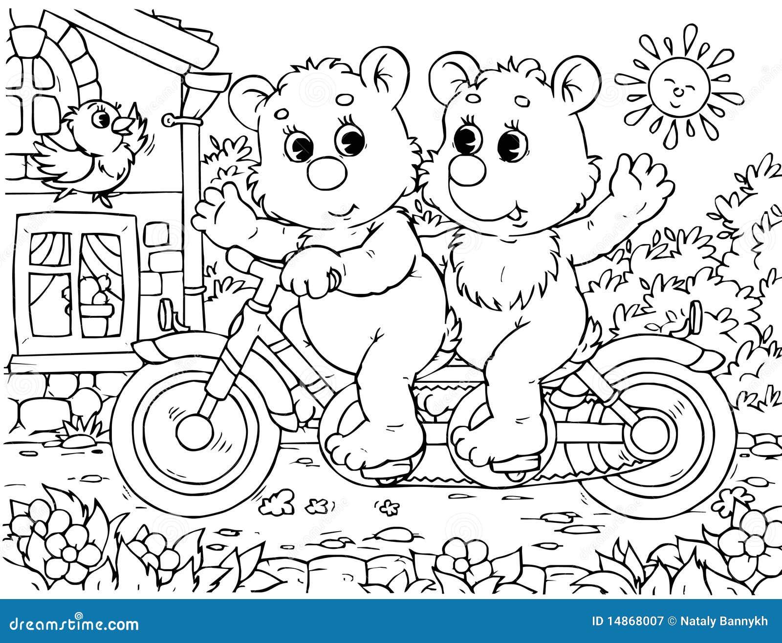 funny bears cyclists stock illustration illustration of