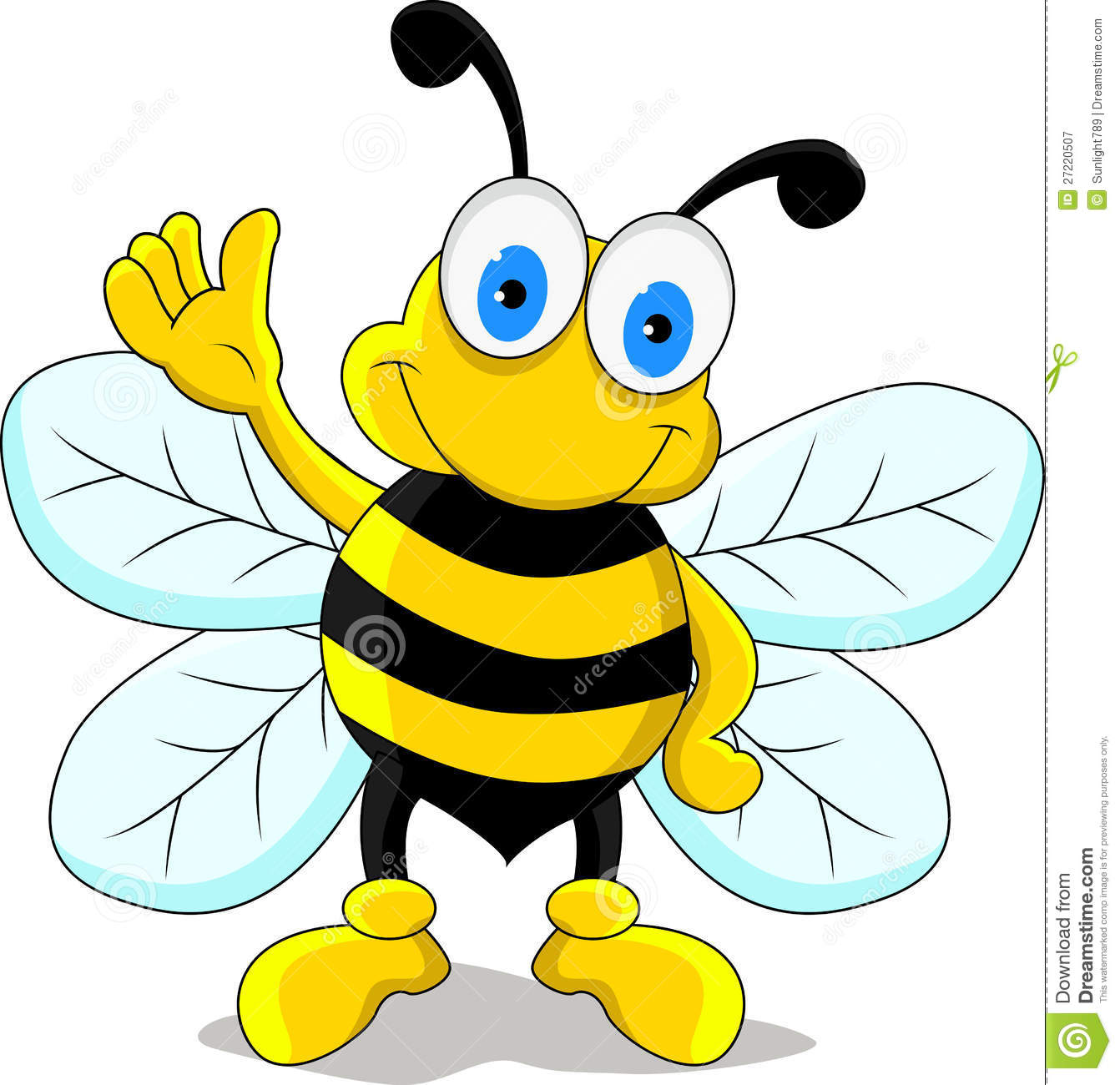 Vector illustration of funny bee cartoon character