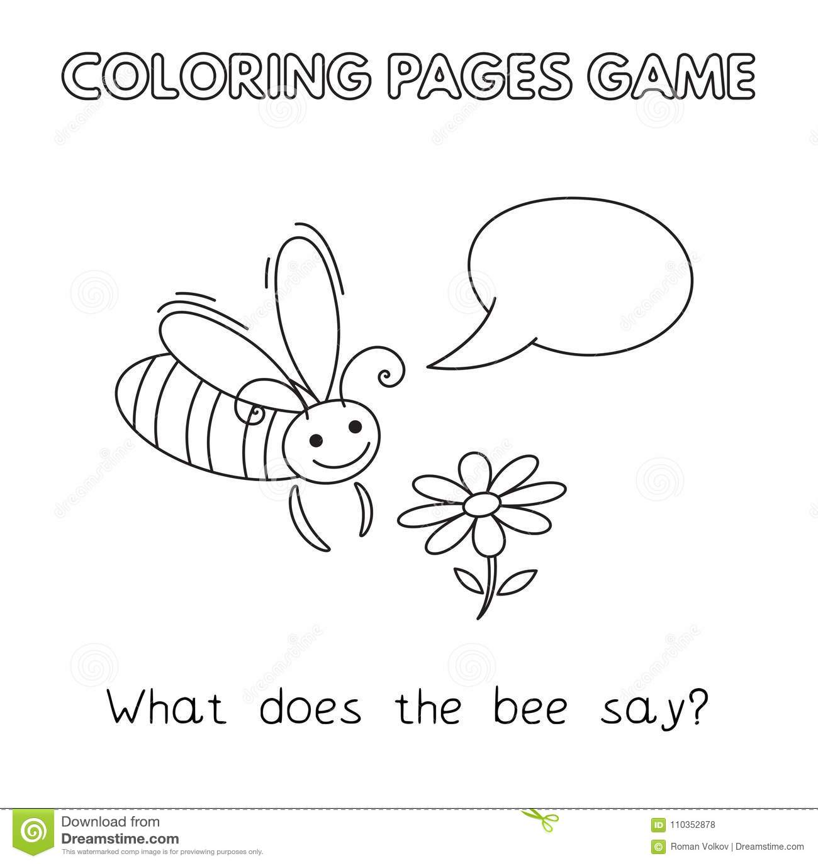 Cartoon Bee Coloring Book stock vector. Illustration of cartoon ...