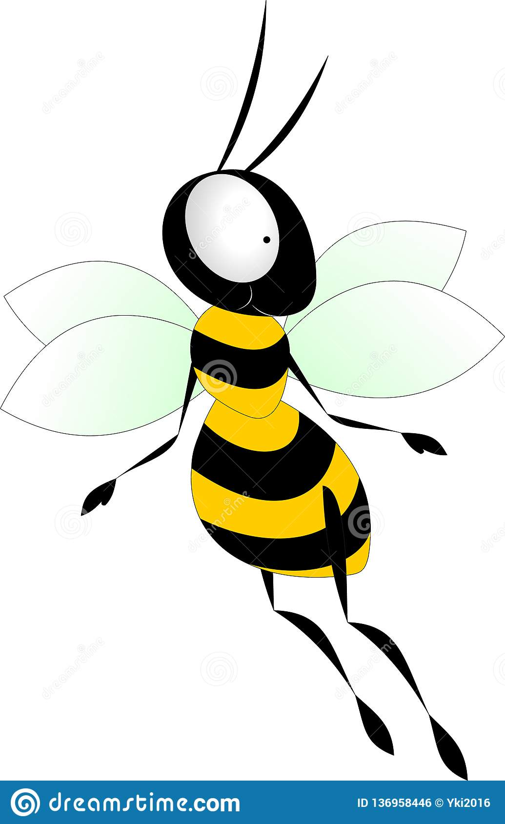 Funny bee in yellow and black stripes with a mustache