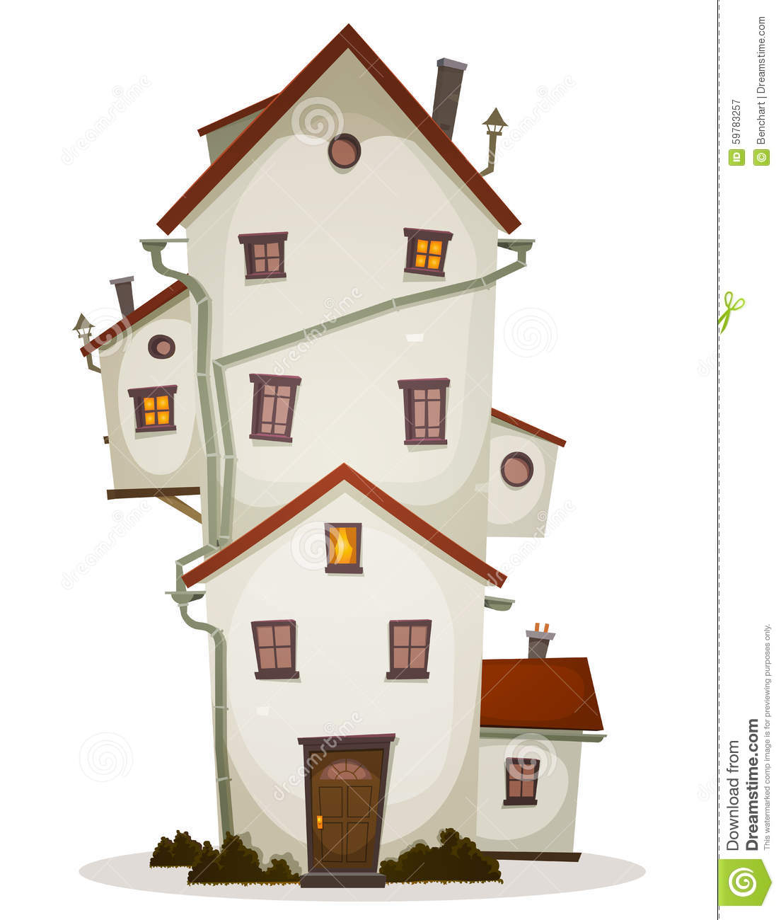 Types of windows for homes - Funny House Castle Or Manor With Lots Of Windows And Outbuilding