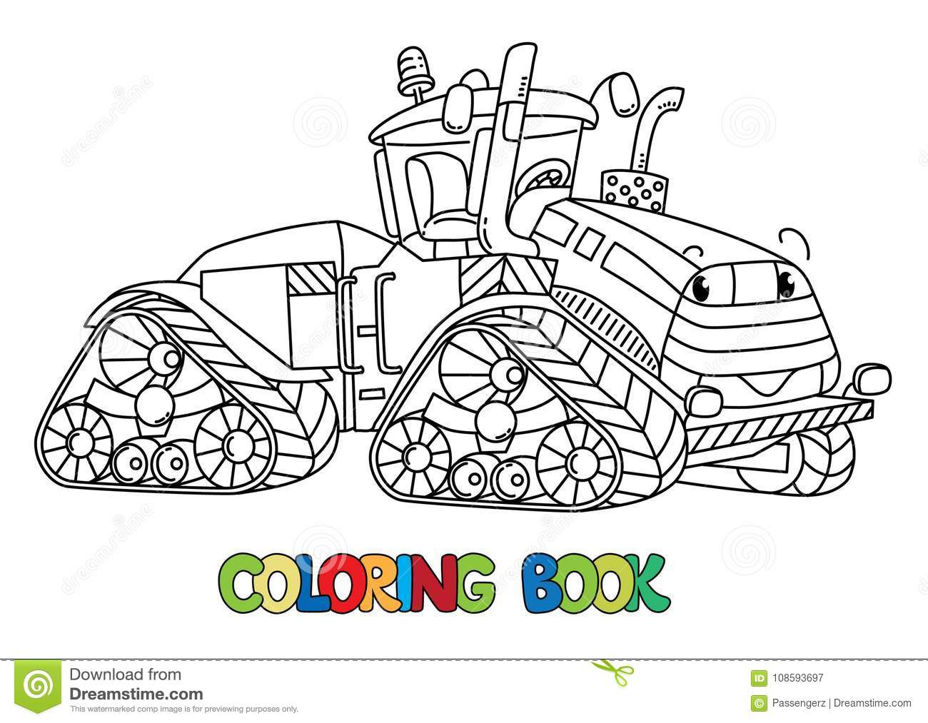 Funny Big Tractor With Eyes. Coloring Book Stock Vector ...