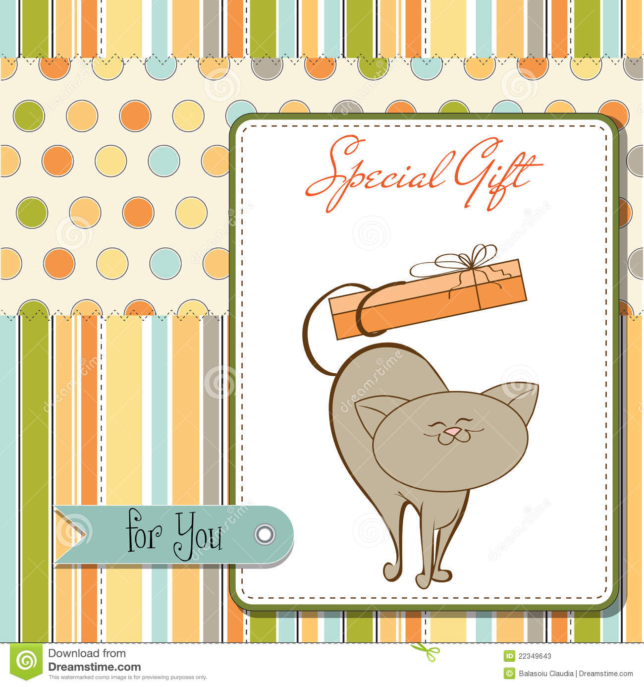 Download Funny Birthday Card With Little Cat Stock Illustration