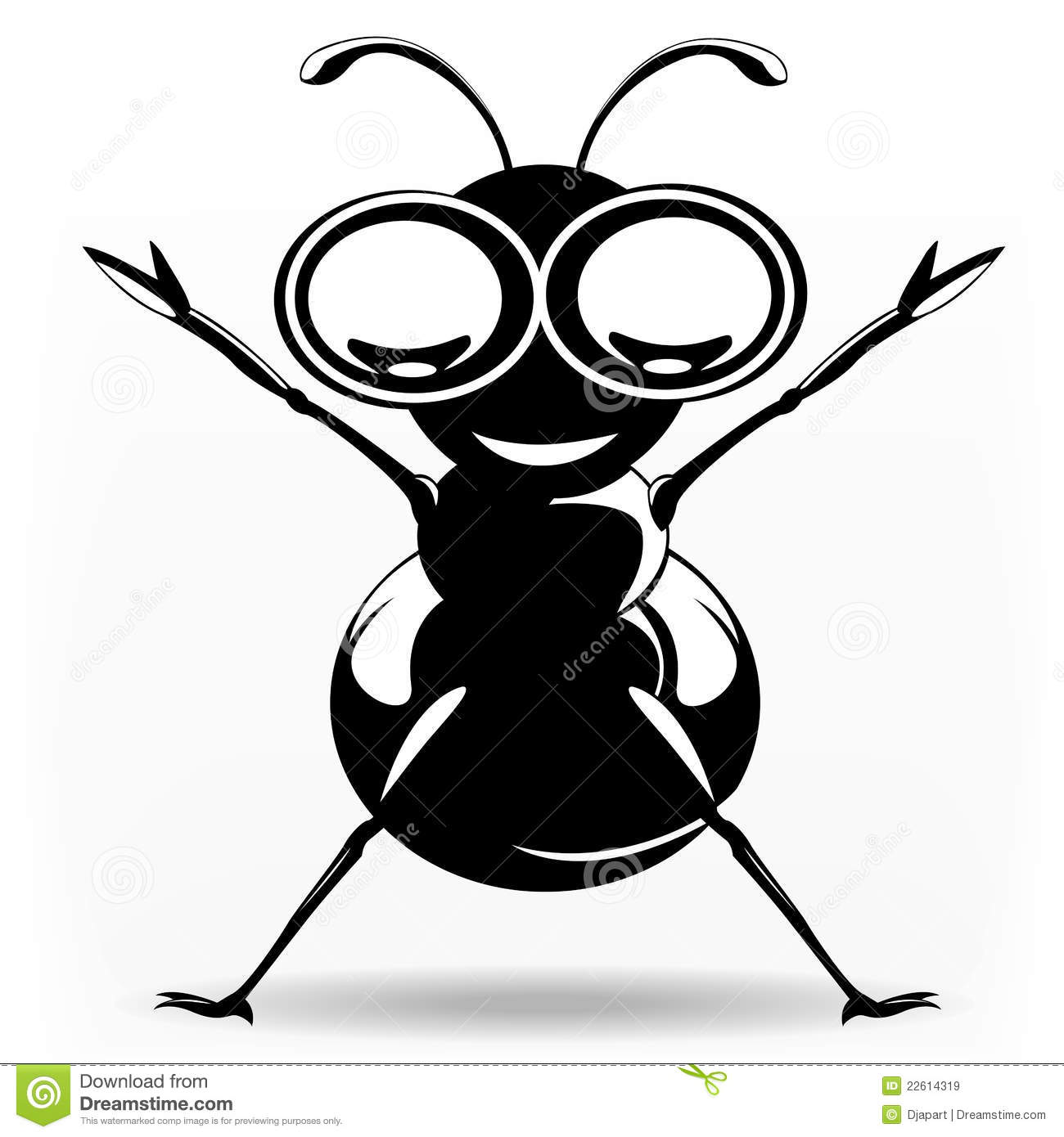Funny black ant stock vector. Illustration of hand ...