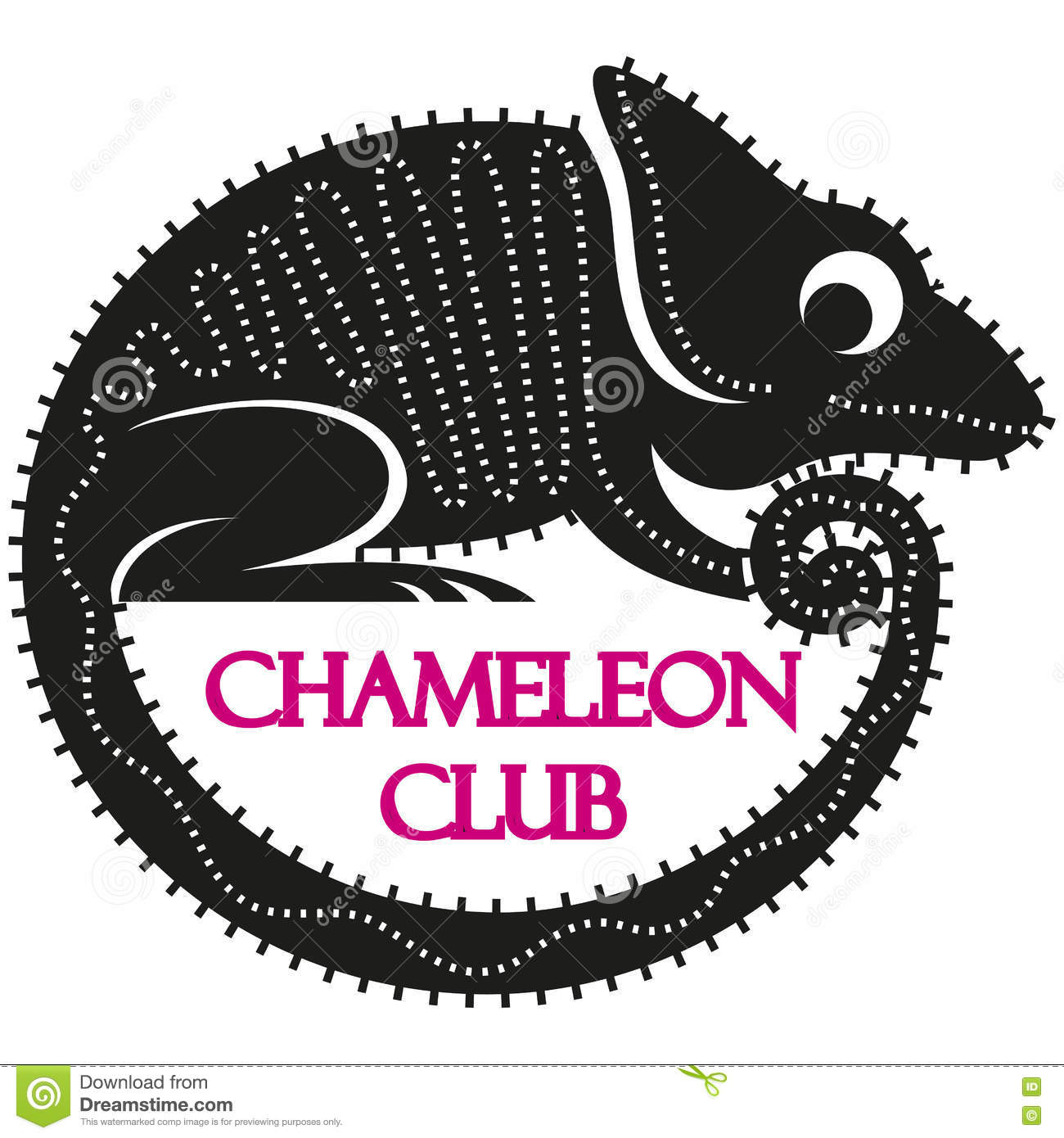 Funny black cartoon chameleon logo.
