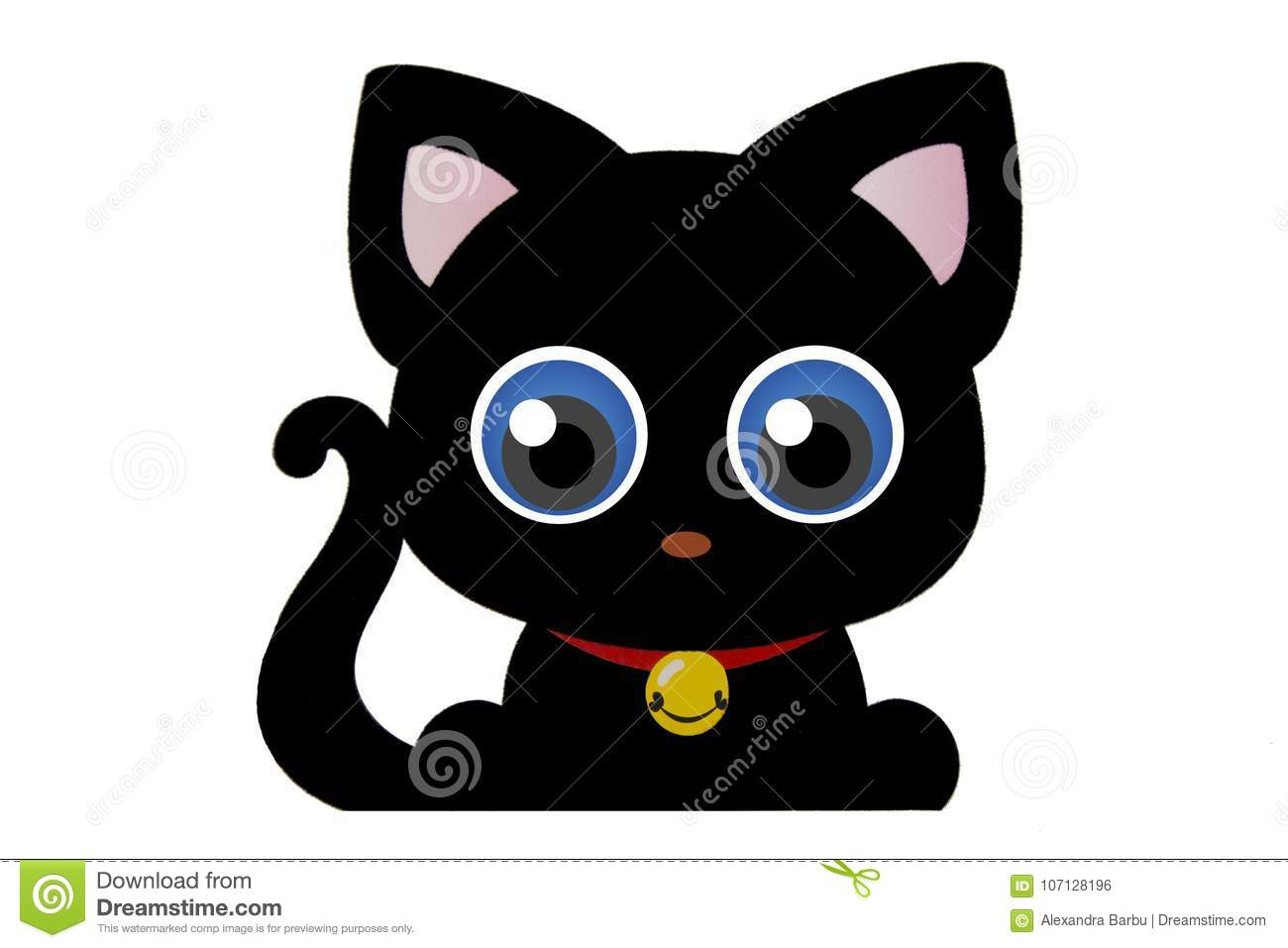 Cute black kitty cat silhouette with big blue eyes isolated on white curl tailpink ears and collar and pendant
