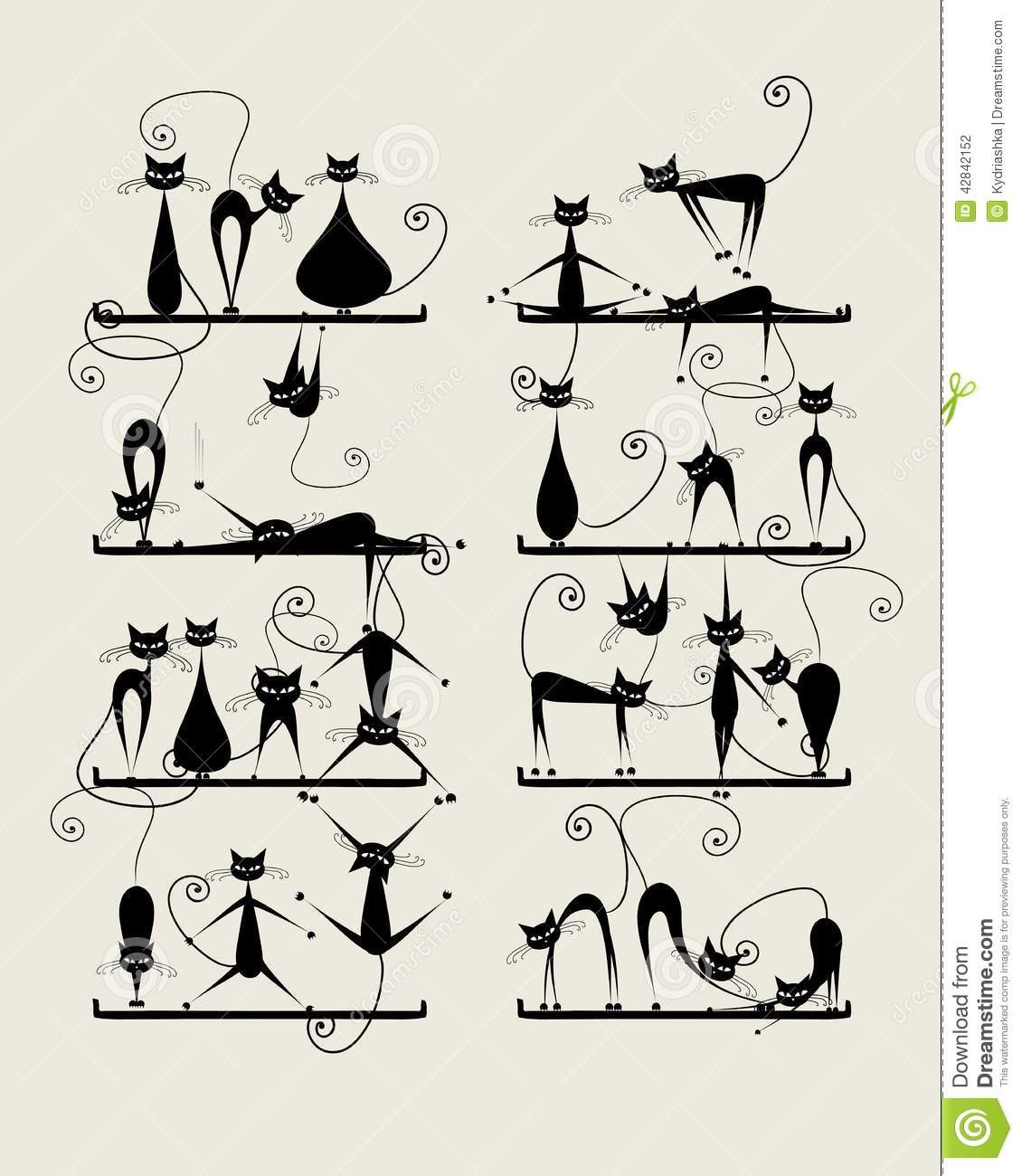 Concorso Design Your Cat : Funny black cats on shelves for your design stock vector