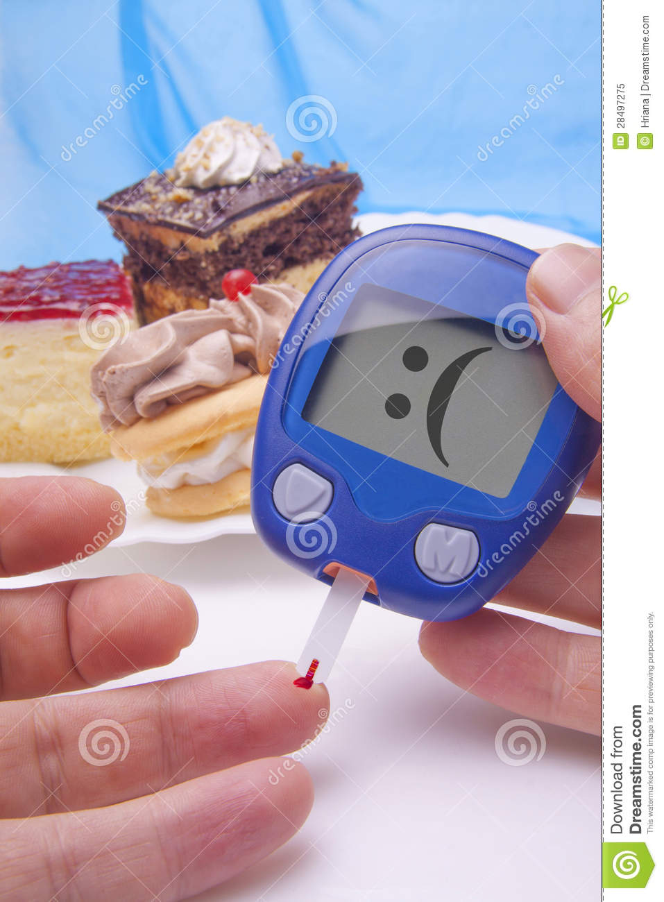 Funny Blood Sugar Test Royalty Free Stock Photo Image