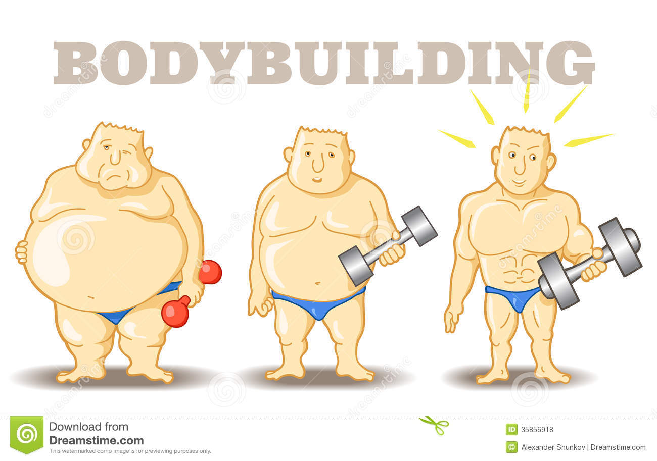 Vector illustration: Funny Man before and after weight loss program ...