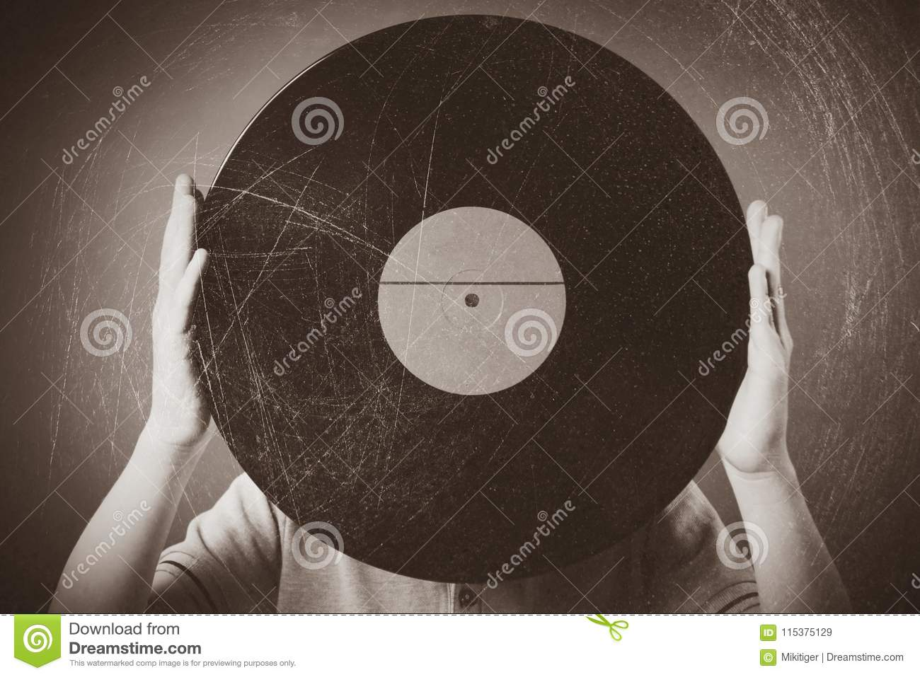 Funny Boy Holding An Old Musical Retro Record Stock Image - Image of