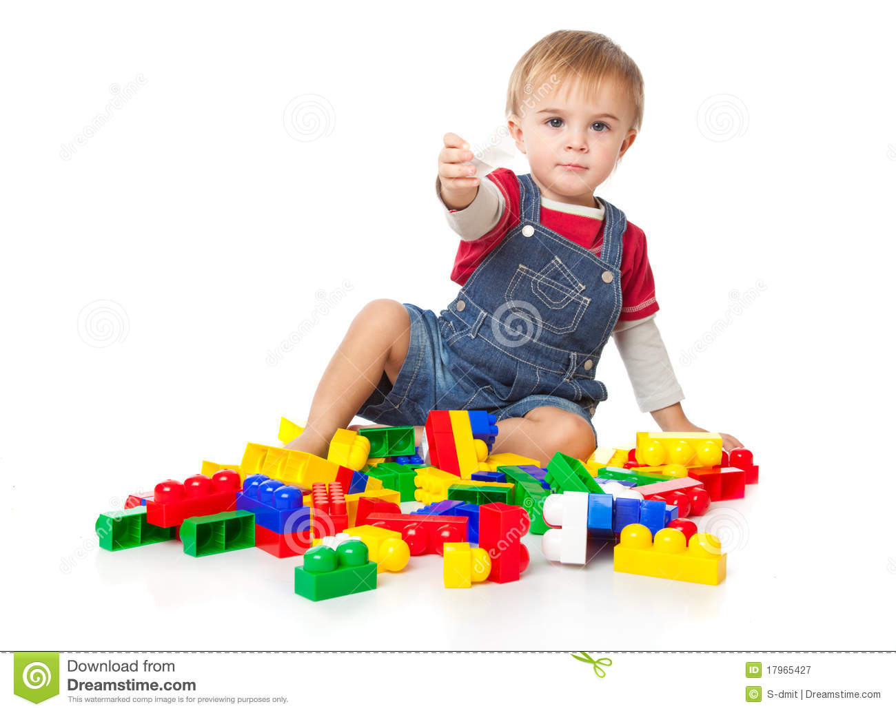 A Funny Boy Is Playing With Lego Stock Image Image Of