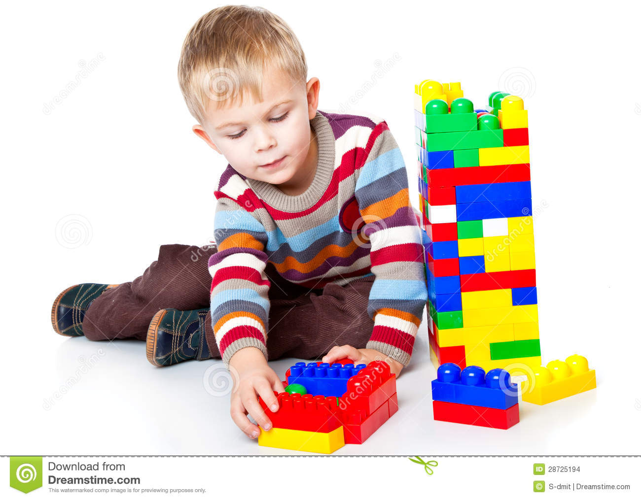 A Funny Boy Is Playing With Lego Stock Photo Image Of